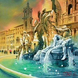 Piazza Navona by Peter J Rodgers - Original Painting on Paper sized 20x20 inches. Available from Whitewall Galleries